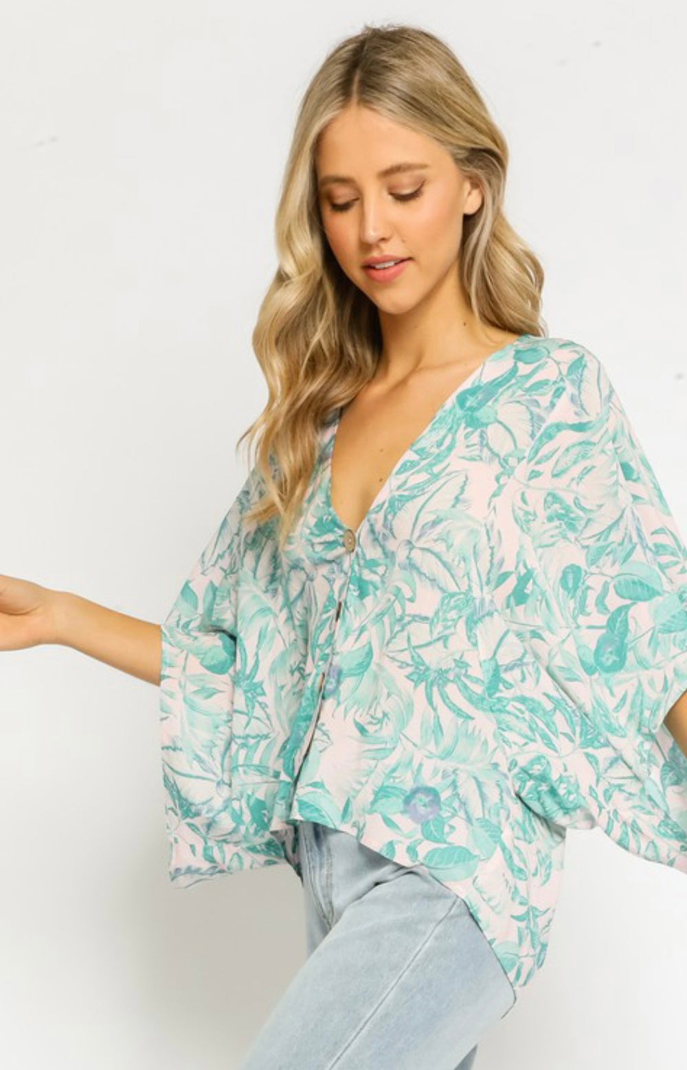 Pink Dawn Tropical Button Up Top