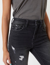 Load image into Gallery viewer, Black High Rise Distressed Ankle Skinny Jeans
