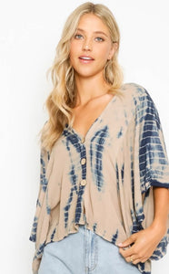 Navy & Nude Tie Dye Button Up