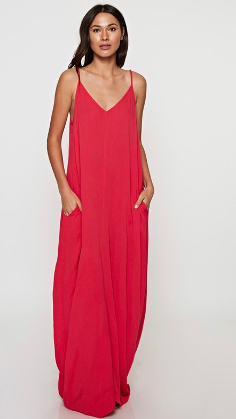 Summer red gauze maxi dress