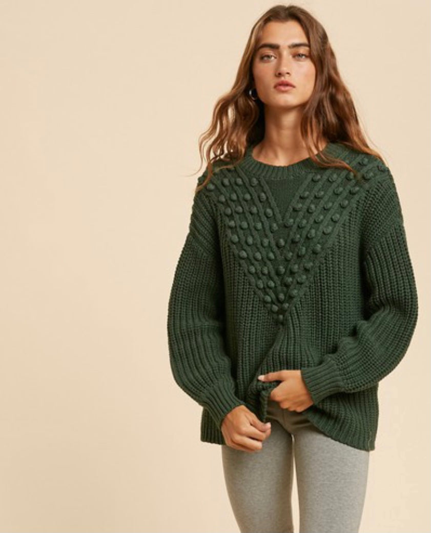 Hunter Green Pom Knitted Sweater