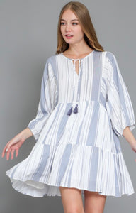 Dolman 3/4 Sleeve Blue & White Striped Dress
