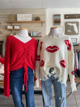 Load image into Gallery viewer, Red ruched Sweater