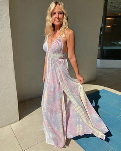 Tassel Trim Tie Dye Maxi Dress