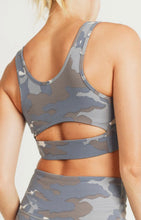 Load image into Gallery viewer, Blue Camo Cutout Sports Bra