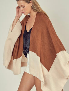 Two tone Poncho Cardigan