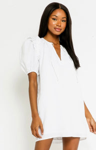 White Linen Puff Sleeve Dress