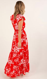 Red floral Maxi Dress