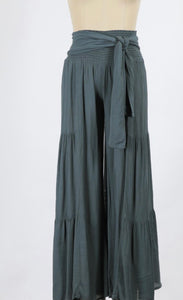 Washed Crinkle Tiered Wide Leg Trouser with Belt