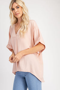 V-Neck High Low Top - Blush