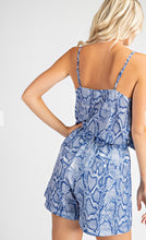Load image into Gallery viewer, Blue Snakeskin ruffle cami