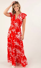 Load image into Gallery viewer, Red floral Maxi Dress