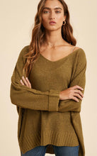 Load image into Gallery viewer, Wide relaxed fit Olive Sweater