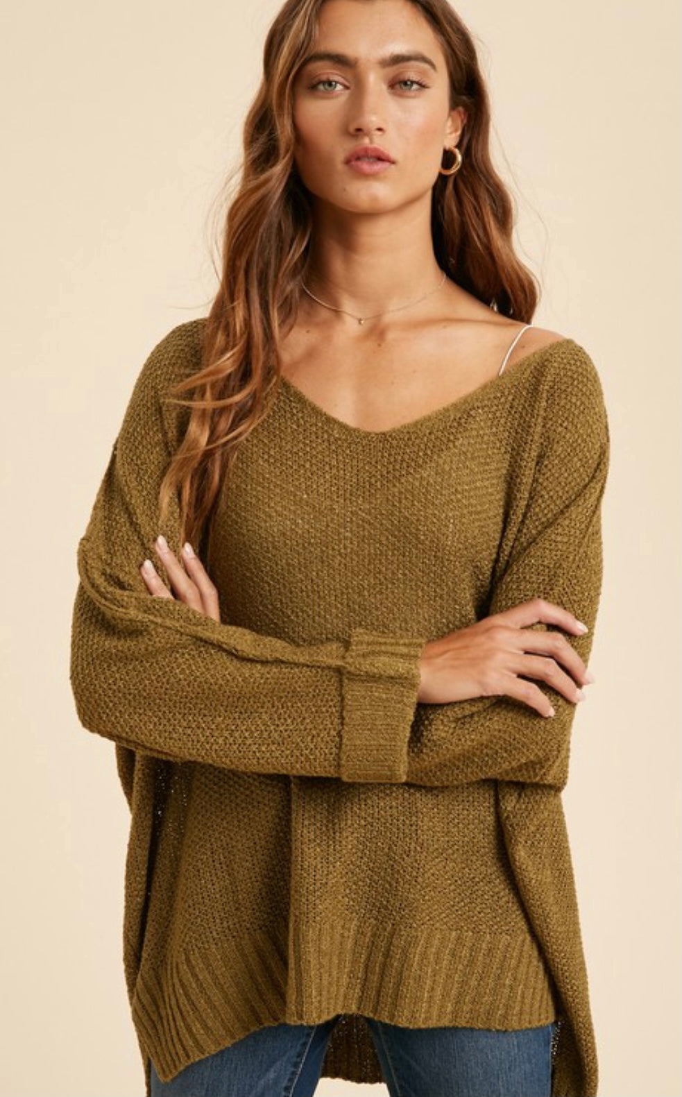 Wide relaxed fit Olive Sweater