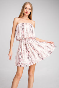 Pink Snakeskin smocked dress