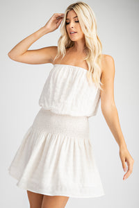 White smocked waist mini dress