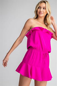 Magenta Ruffle Strapless Dress