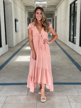 Load image into Gallery viewer, Peach ruffled high-low hem Maxi Dress