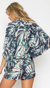 Tropical Dolman sleeve Romper