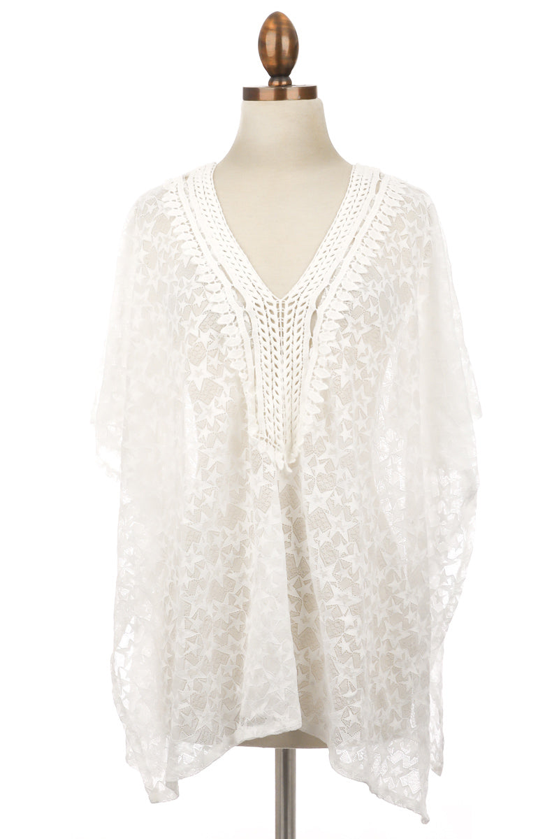 Embroidered Star Lace Cover Up