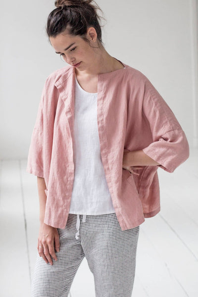 Linen Sintra Cardigan Dusty Rose - Nordic Labels