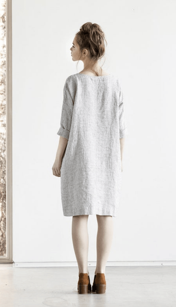 Linen November Tunic Dress Small Checks - Nordic Labels