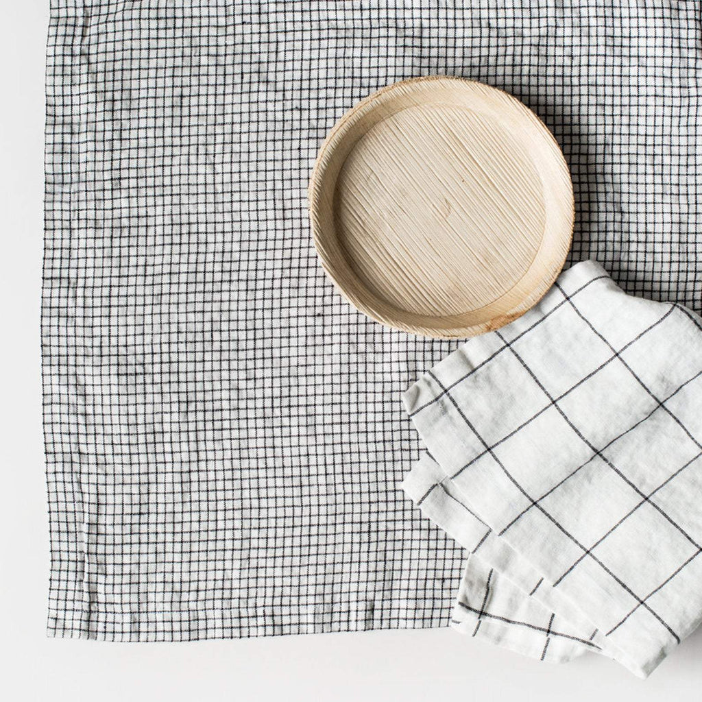 Linen Napkins Small Checks - Nordic Labels