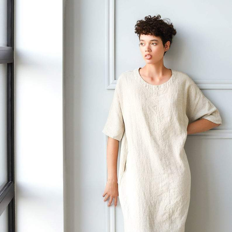 Linen Seul Dress Beige - Nordic Labels