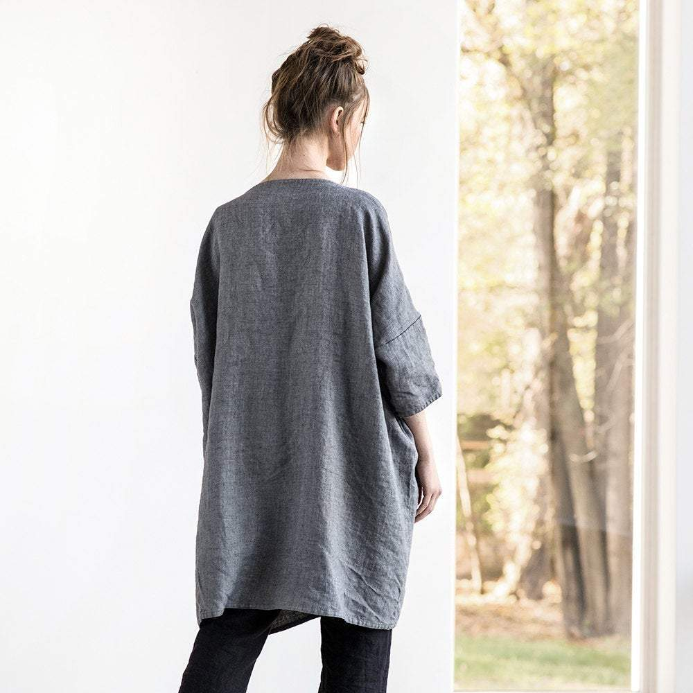 Linen Long Cardigan Sintra Metallic Gray - Nordic Labels