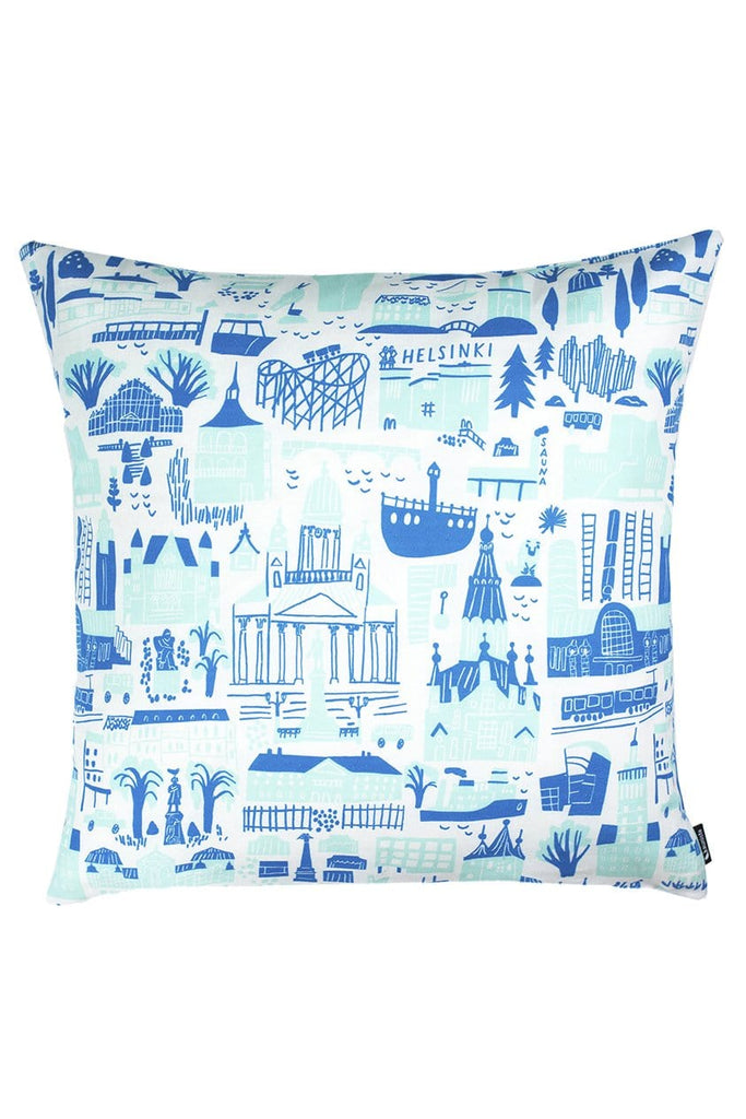 "Kauniste Finland Helsinki Blue Pillow Cover 20""x 20"" - Nordic Labels"