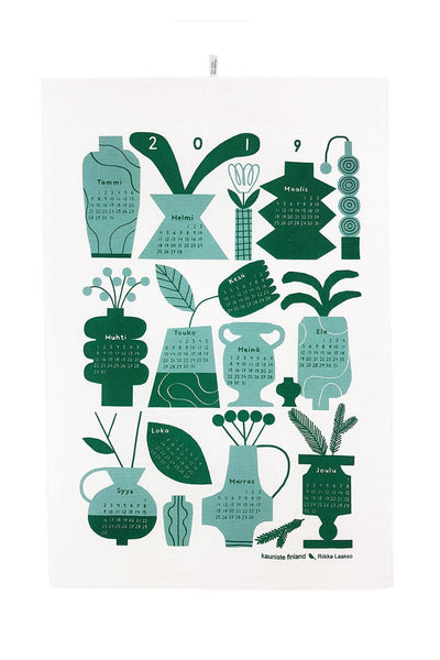 Kauniste Finland Calendar 2019 Green Tea Towel - Nordic Labels