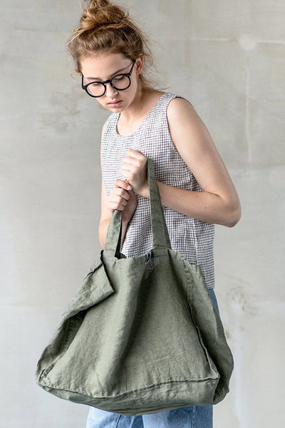 Linen Tote Olive - Nordic Labels