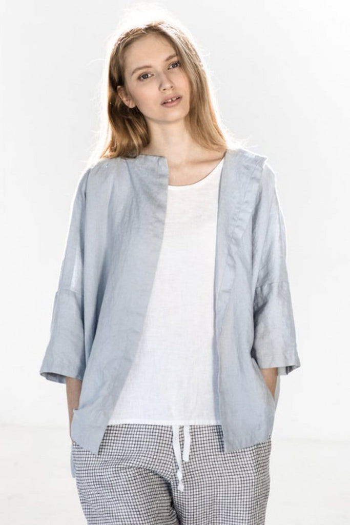 Linen Sintra Cardigan Ice Blue - Nordic Labels