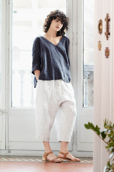 Linen London Oversized Top Charcoal - Nordic Labels