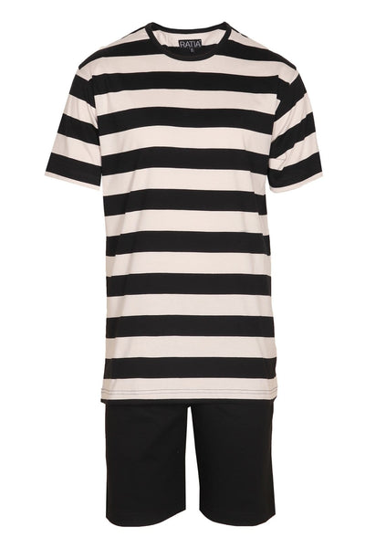 Ratia Black/Sand Stripe Men's Pyjama Set - Nordic Labels