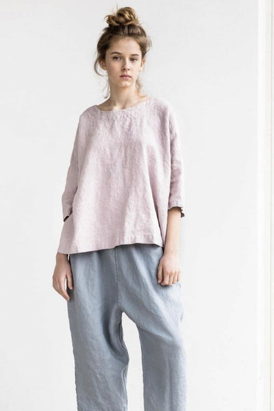 Linen London Oversized Top Dusty Rose - Nordic Labels