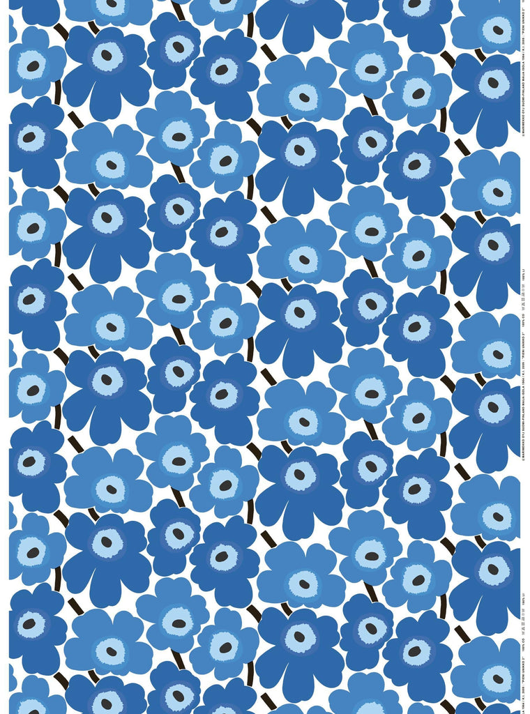 Marimekko Pieni Unikko Blue Fabric - Nordic Labels