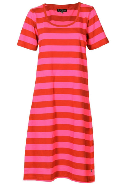 Ratia Riitta Pink/Red Short Sleeve Gown - Nordic Labels