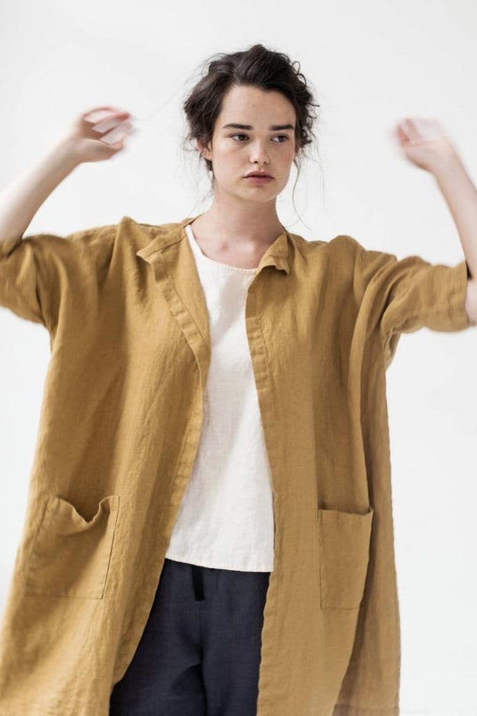 Linen Long Cardigan Sintra Amber - Nordic Labels