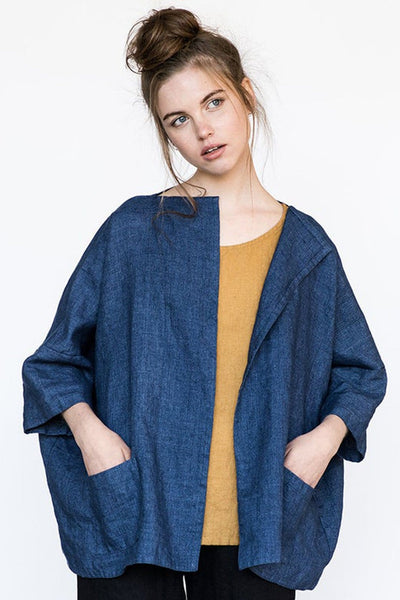 Linen Sintra Cardigan Blue - Nordic Labels
