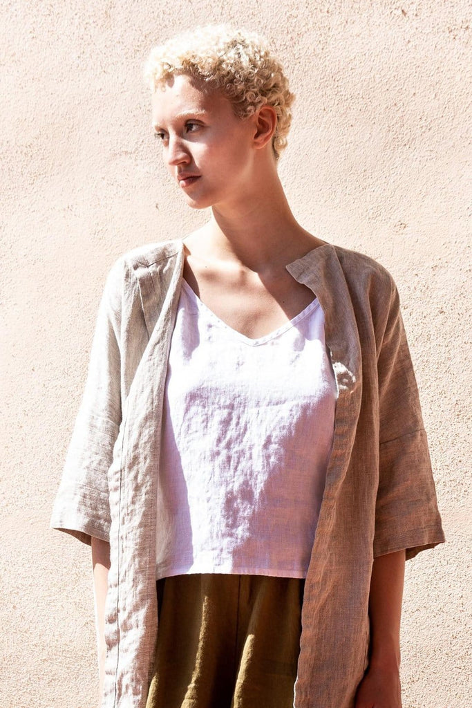 Linen Long Cardigan Sintra Beige - Nordic Labels