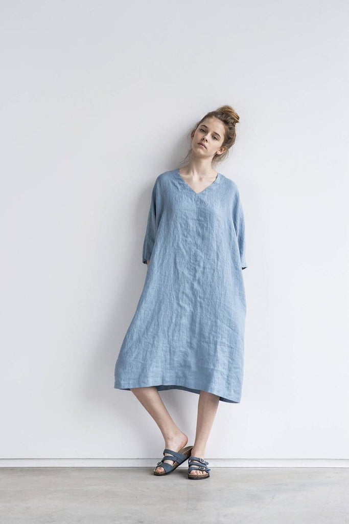 Linen Valencia Dress Swedish Blue - Nordic Labels