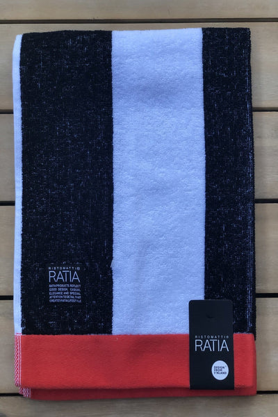 Ratia Wide Stripe Black Hand Towel - Nordic Labels
