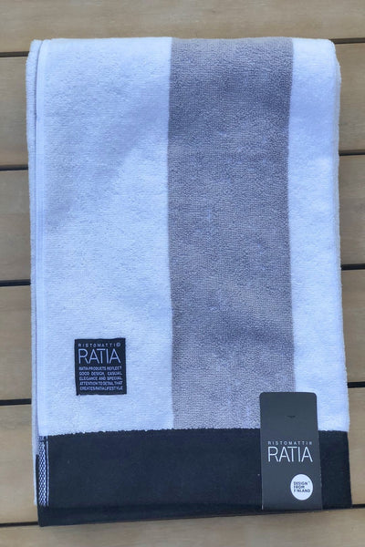Ratia Wide Stripe Grey Bath Towel - Nordic Labels