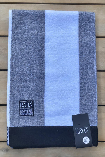 Ratia Wide Stripe Grey Hand Towel - Nordic Labels