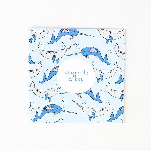 Two Little Ducklings | Baby Boy Narwhal Card