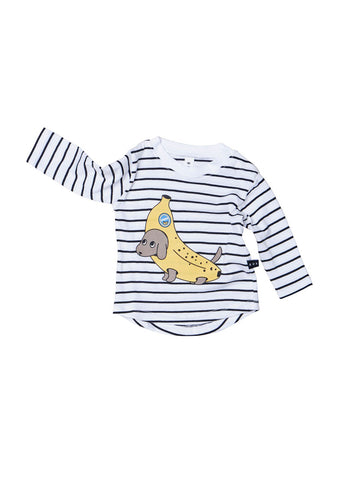 Huxbaby Banana Dog Stripe Top