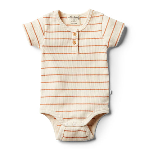 Wilson And Frenchy Organic Bodysuit | Toasted Nut Stripe