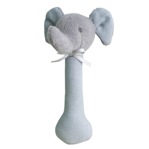 Alimrose Elephant Stick Rattle | Linen Chambray