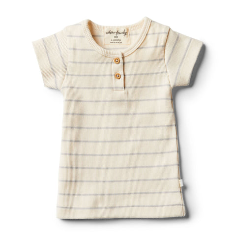 Wilson And Frenchy Organic Tee | Glacier Grey Stripe